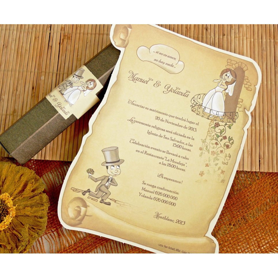 Wedding Invitation Scroll Bridesmamino, Cardnovel 32732