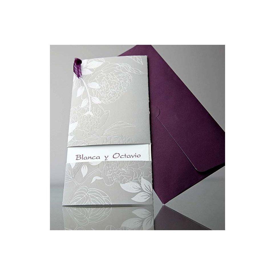 Invitación de boda gris con motivos florales, Cardnovel 34906