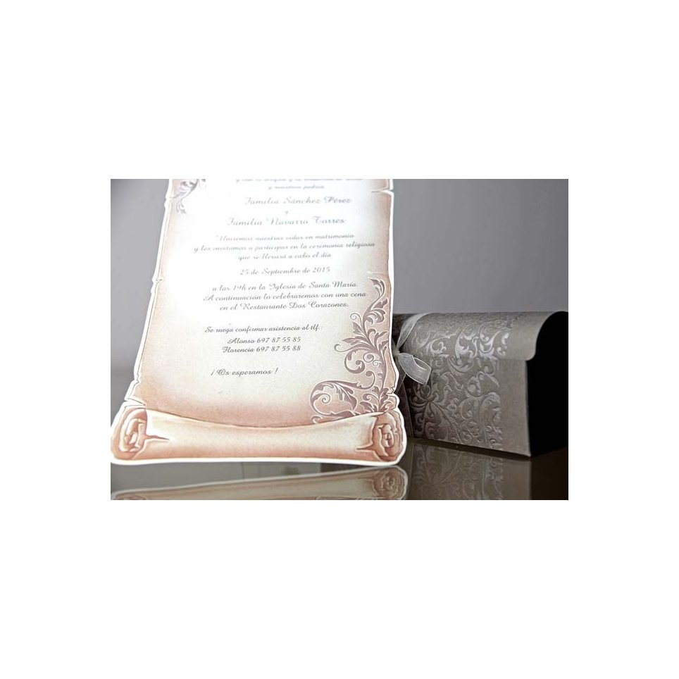 Parchment wedding invitation and chest, Cardnovel 34909