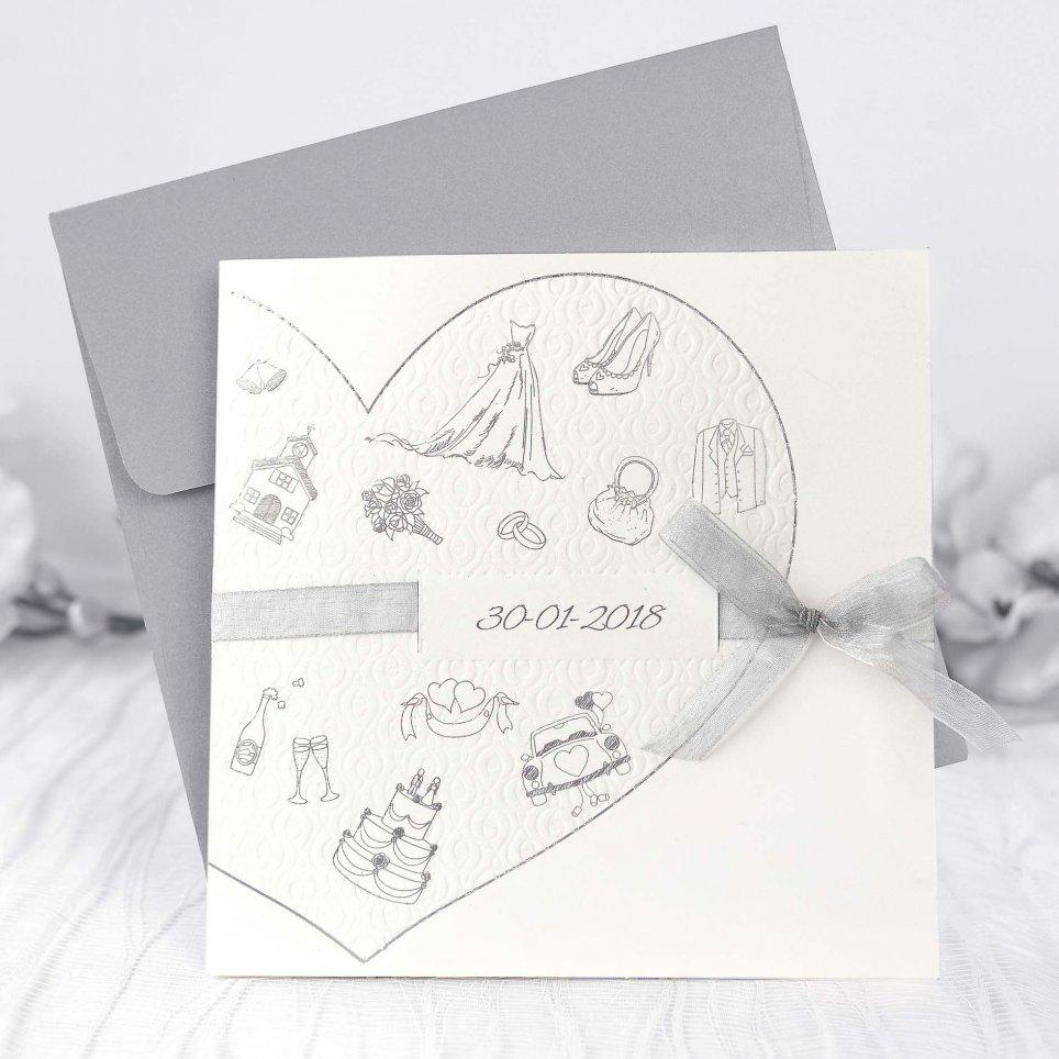 Invitación de boda corazón detalles, Cardnovel 39225