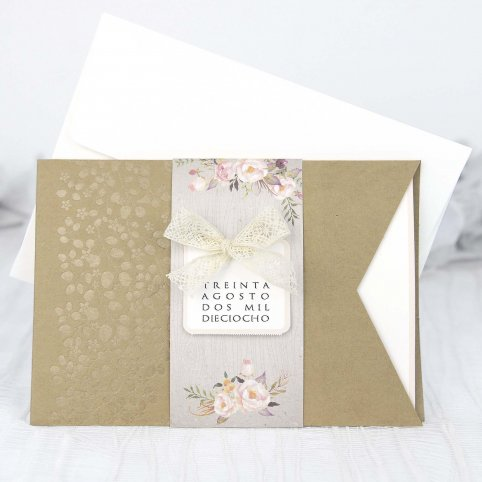 Flowers wedding invitation and lace bow, Cardnovel 39224