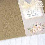 Invito a nozze fiori e fiocco in pizzo, dettaglio Cardnovel 39224
