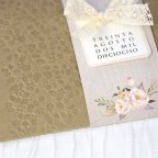Wedding Invitation Flowers and Lace Bow, Cardnovel 39224 detail
