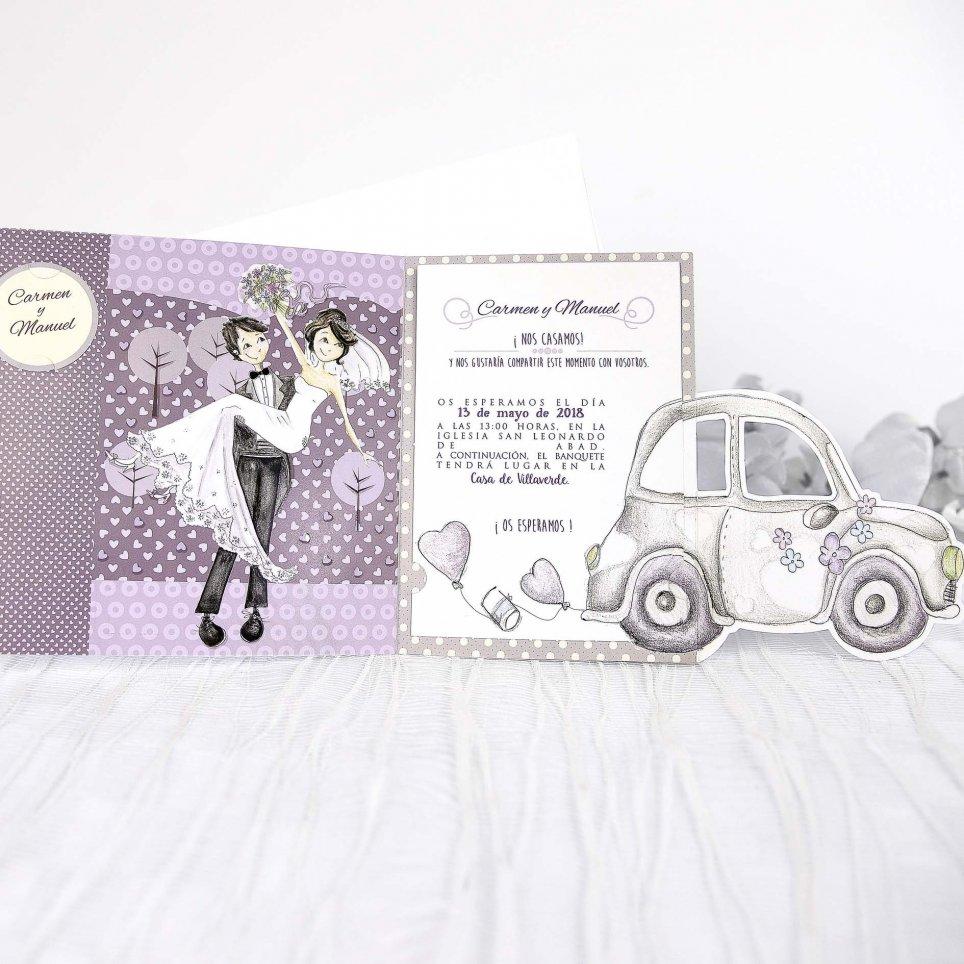 Invitación de boda coche recién casados, Cardnovel 39218 abierta