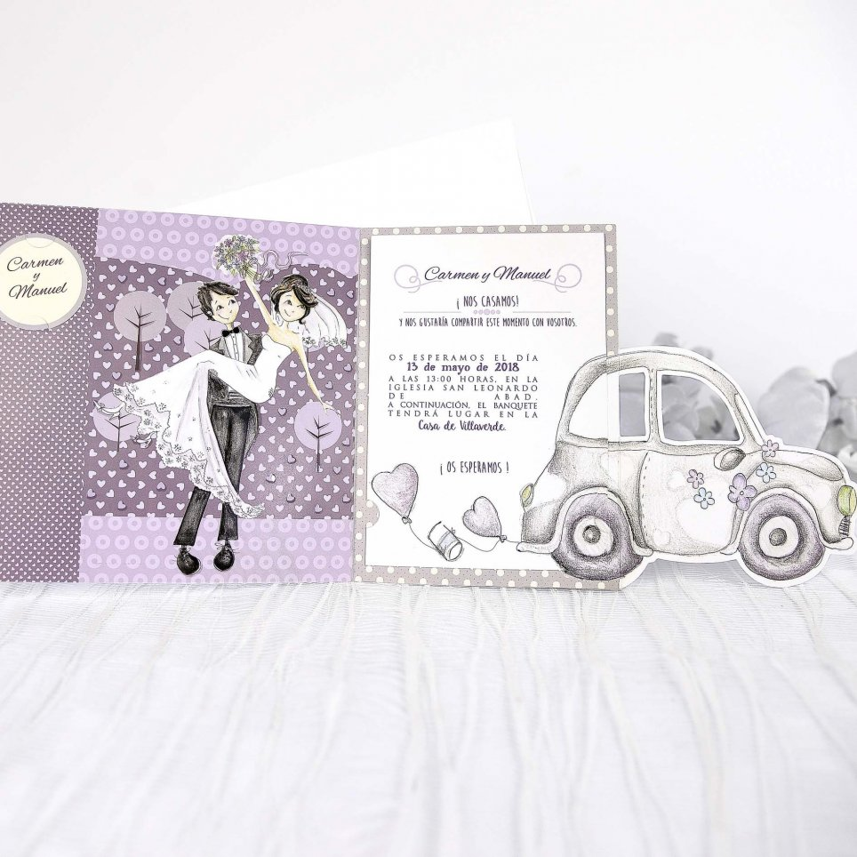 Newlywed Car Wedding Invitation, Cardnovel 39218 Open