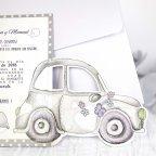 Invitación de boda coche recién casados, Cardnovel 39218 detalle