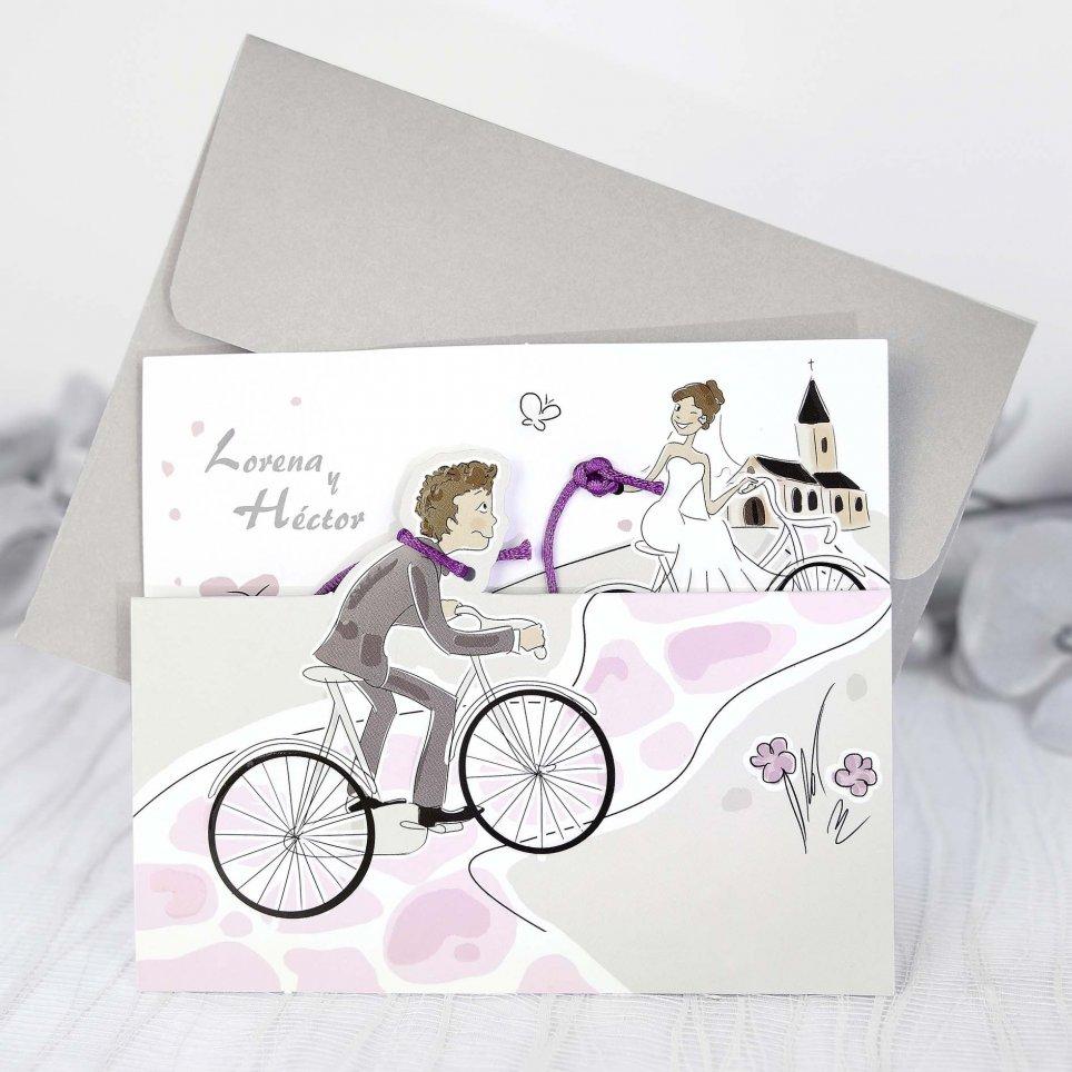Hochzeitseinladung Braut und Bräutigam auf einem Fahrrad, Cardnovel 39220