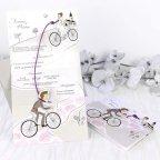 Invitación de boda novios en bicicleta, Cardnovel 39220 abierta