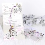 Wedding Invitation Bride and Grooms on Bicycle, Cardnovel 39220 Open