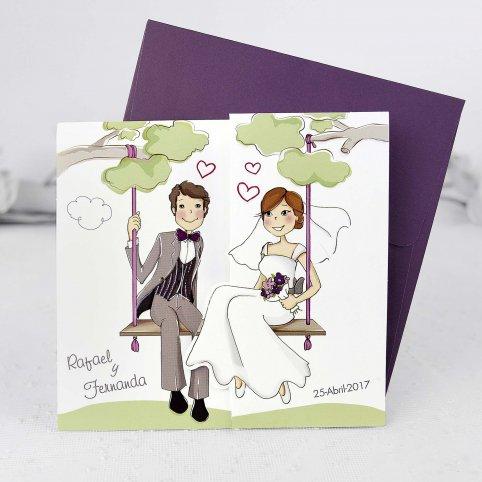 Invito a nozze sposa e sposo con bambini, Cardnovel 39124
