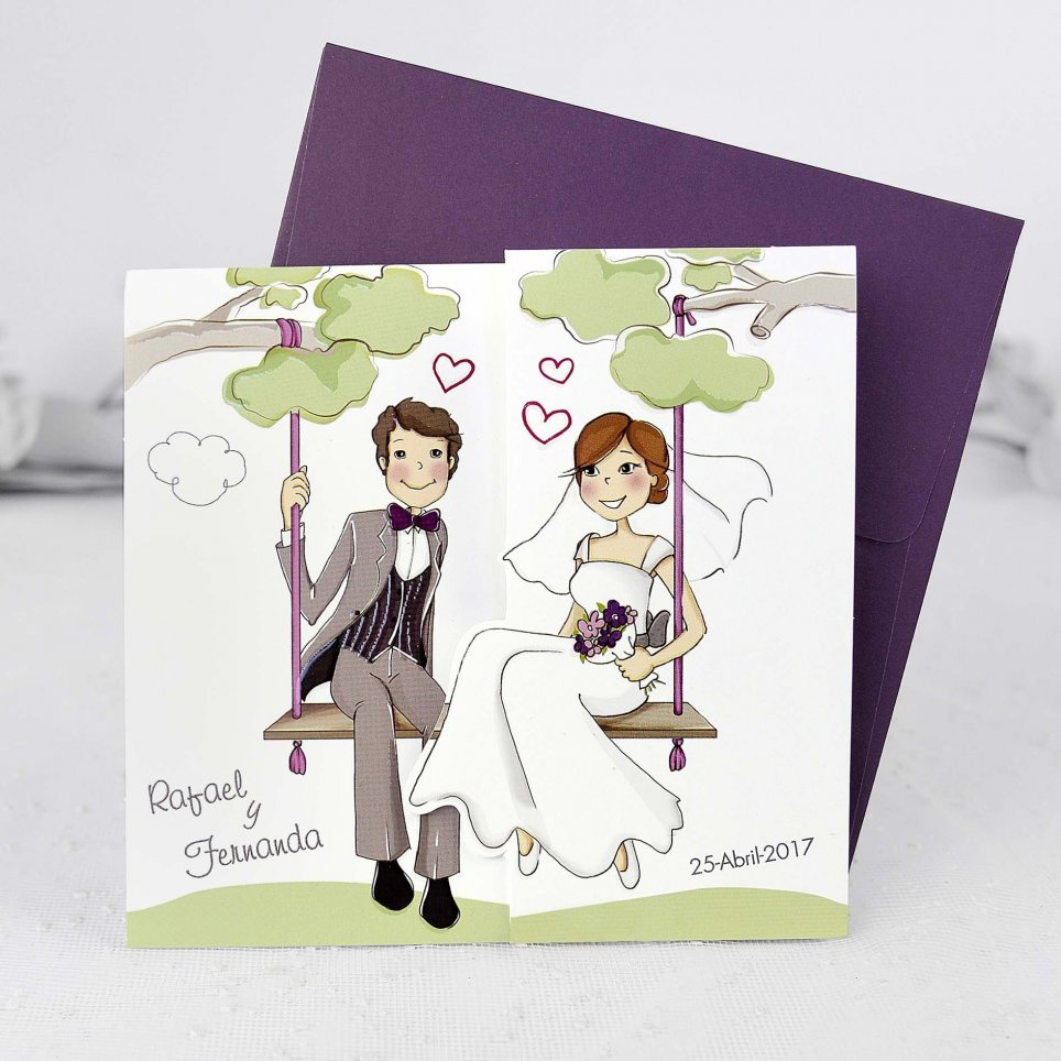 Hochzeitseinladung Braut und Bräutigam mit Kindern, Cardnovel 39124