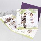 Hochzeitseinladung Braut und Bräutigam mit Kindern, Cardnovel 39124 komplett