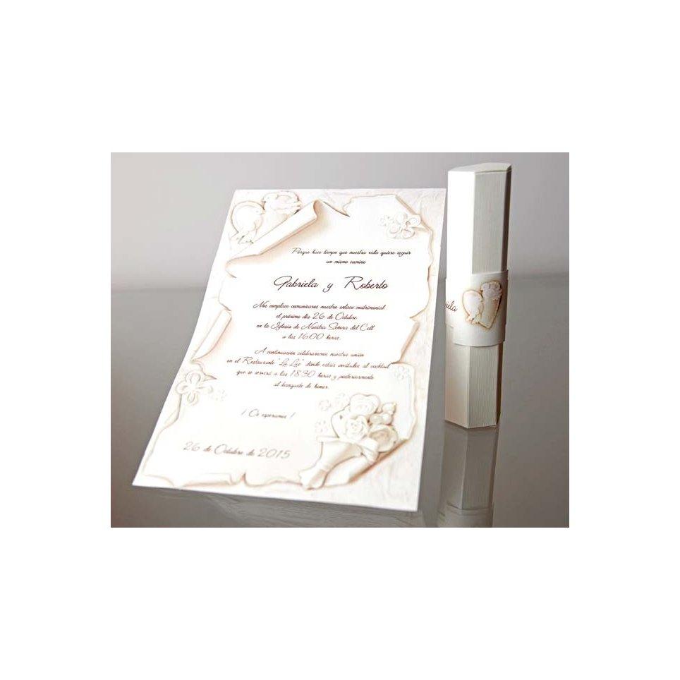 Invitación de boda papiro palomas y corazones, Cardnovel 34953