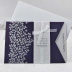 Invitación de boda hojas en bajo relieve, Cardnovel 39111