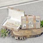 Invitación de boda maleta de viaje, Cardnovel 39339 abierta