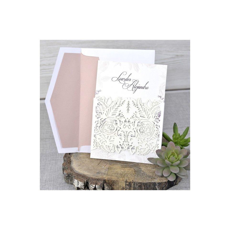 Invitación de boda rosas en relieve, Cardnovel 39328