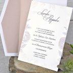 Invito a nozze con rose in rilievo, testo Cardnovel 39328