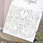 Geprägte Rosen Hochzeitseinladung, Cardnovel 39328 Laser