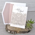 Rose Embossed Wedding Invitation, Cardnovel 39328 Pink