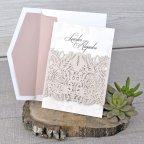 Invitación de boda rosas en relieve, Cardnovel 39328 rosa