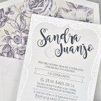 Wedding invitation reliefs in square bracket, Cardnovel 39318 detail