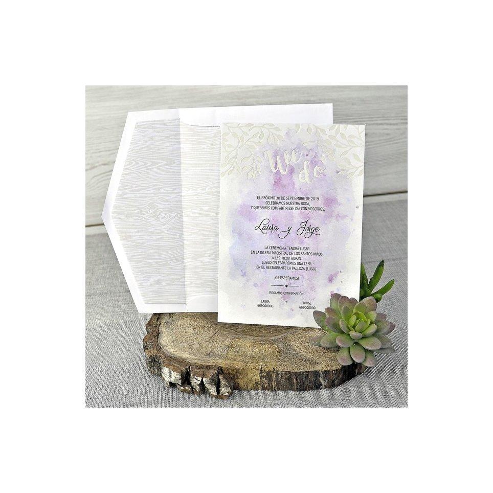 Invitación de boda acuarela, Cardnovel 39304