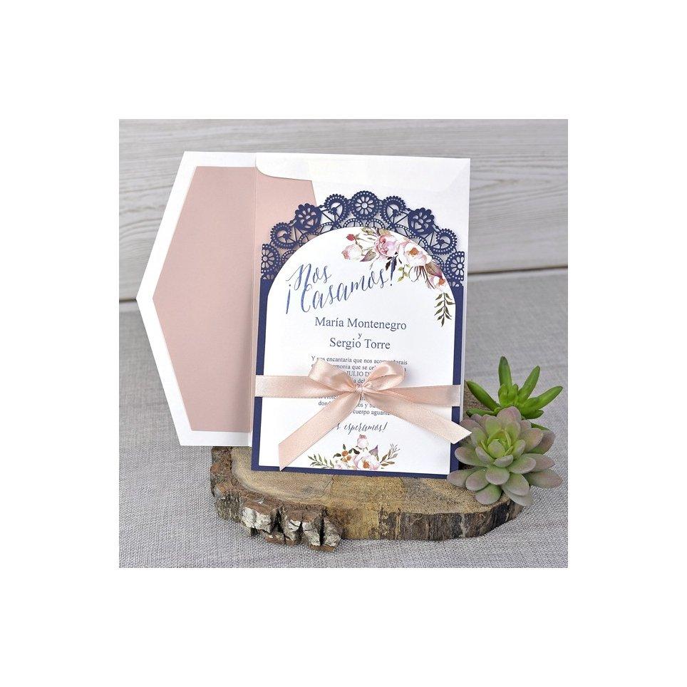 Invitación de boda blonda de encaje, Cardnovel 39326