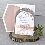 Invitación de boda blonda de encaje, Cardnovel 39326 gris