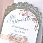 Invitación de boda blonda de encaje, Cardnovel 39326 corte