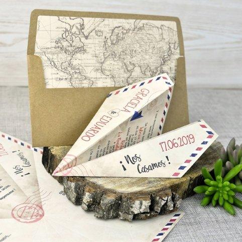 Convite de casamento de avião de papel, Cardnovel 39333