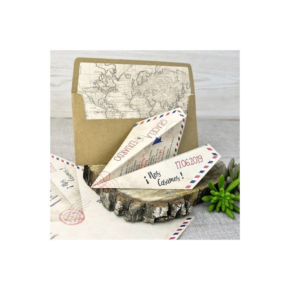 Invitación de boda avión de papel, Cardnovel 39333