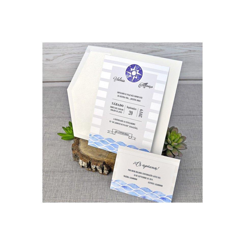Invitación de boda brújula, Cardnovel 39306