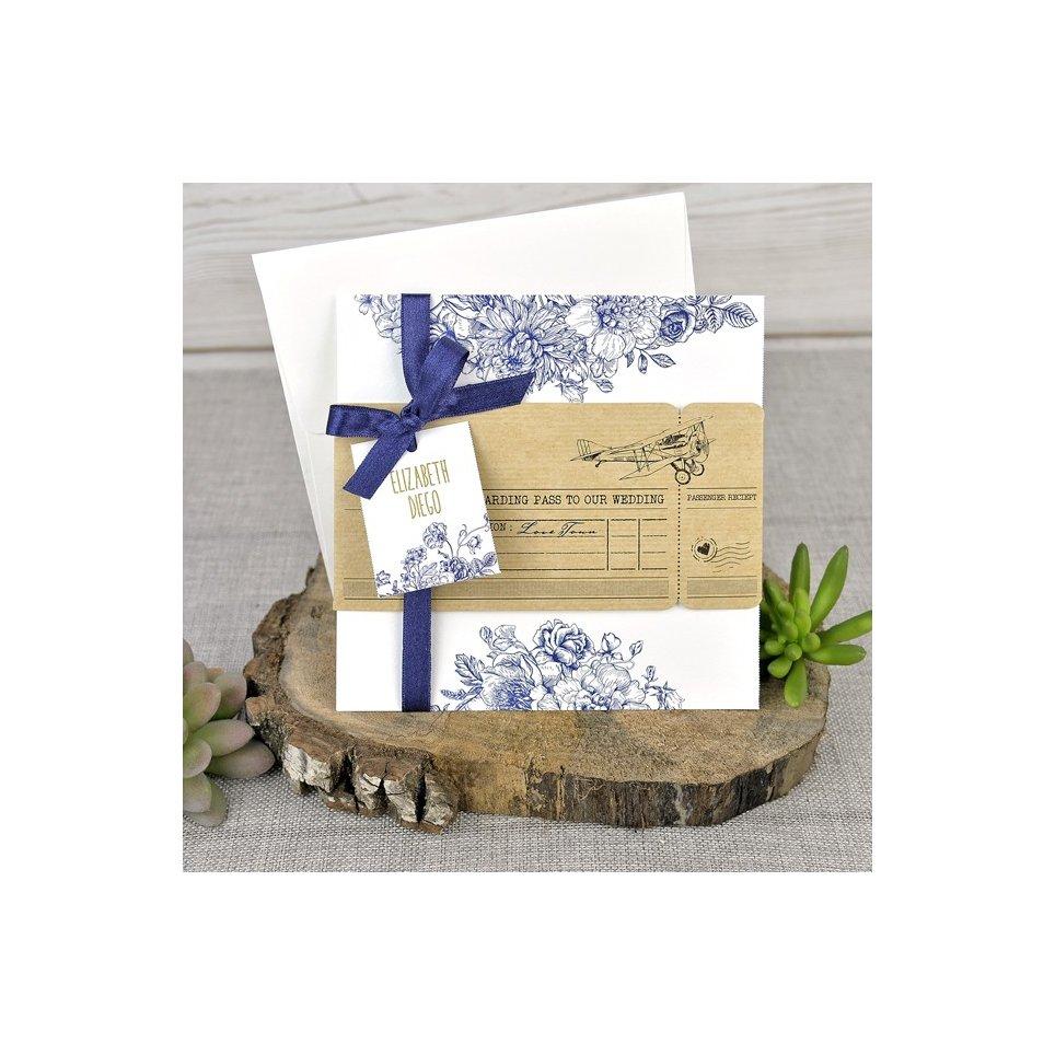 Carta d'imbarco per invito a nozze, Cardnovel 39325