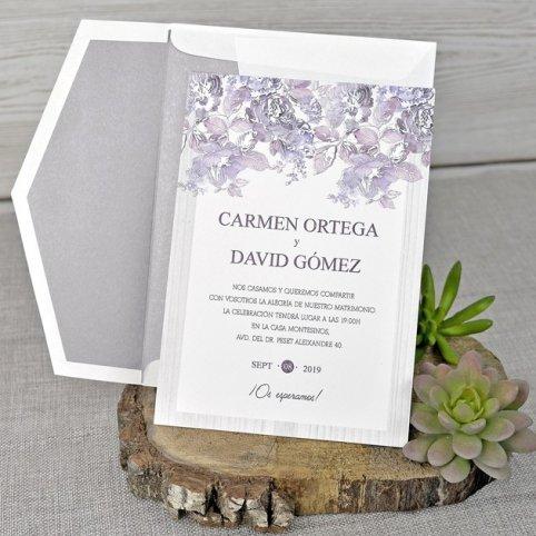 Invitación de boda rosal en relieve, Cardnovel 39320