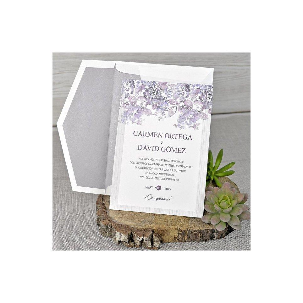 Invito a nozze cespuglio di rose in rilievo, Cardnovel 39320