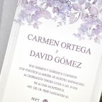 Invitación de boda rosal en relieve, Cardnovel 39320 texto