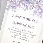 Invito a nozze con cespuglio di rose in rilievo, testo Cardnovel 39320