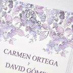 Invitación de boda rosal en relieve, Cardnovel 39320 detalle