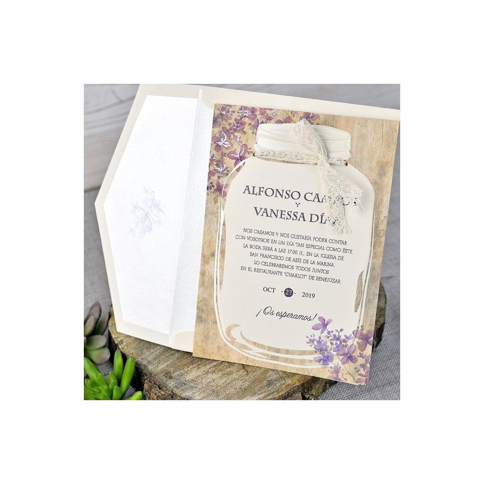 Invitación de boda tarro florido, Cardnovel 39319