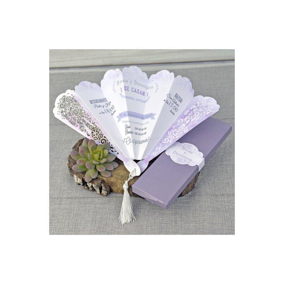 Invitación de boda abanico, Cardnovel 39332