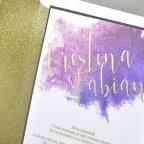 Partecipazione a nozze glitter oro, dettaglio Cardnovel 39323