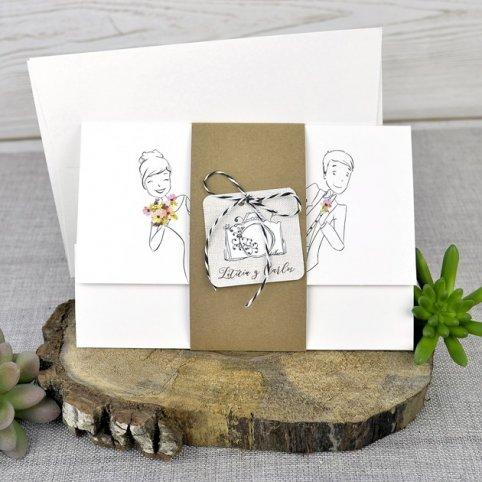 Invitación de boda novios asomados, Cardnovel 39322