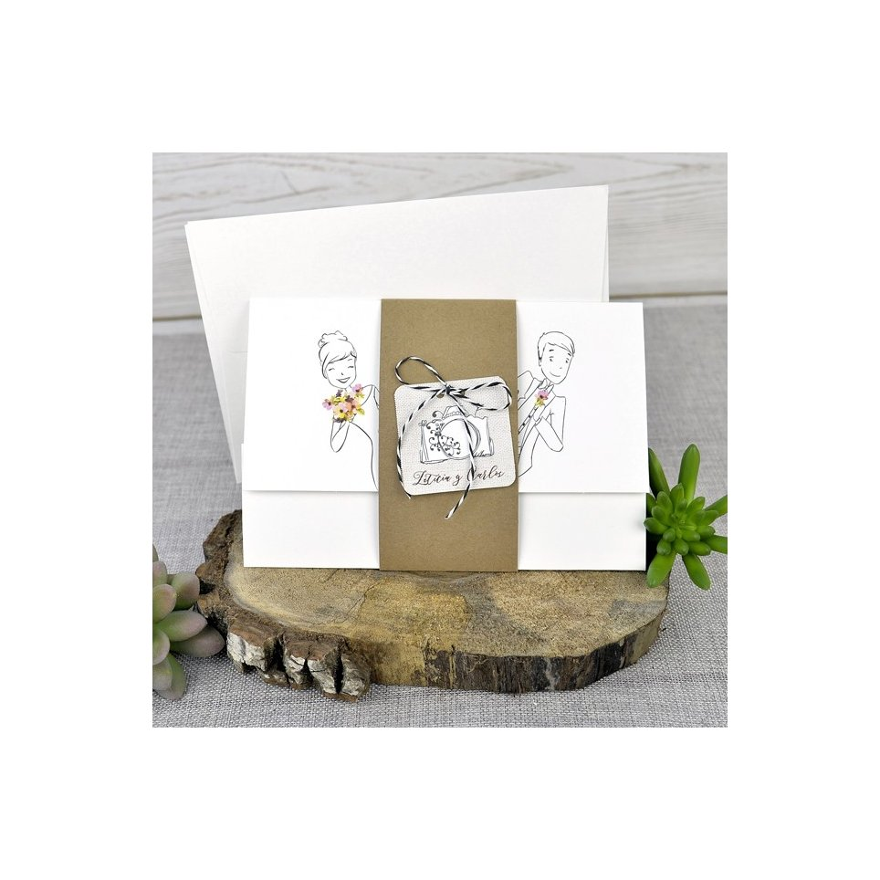 Hochzeitseinladung Braut und Bräutigam lehnen, Cardnovel 39322