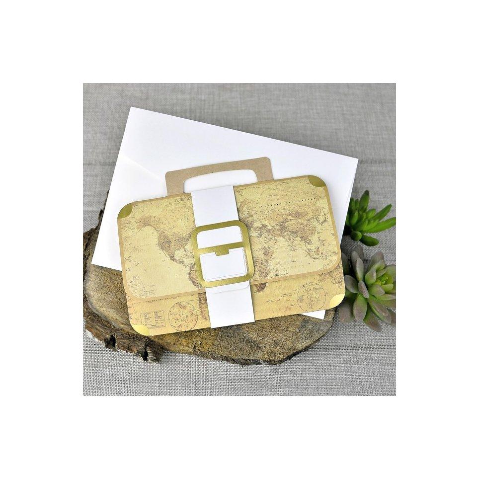 Invitación de boda maletín mapamundi, Cardnovel 39329
