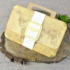 World map briefcase wedding invitation, Cardnovel 39329 closed