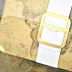 World map briefcase wedding invitation, Cardnovel 39329 detail