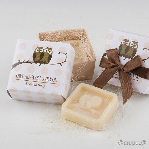 Jabón perfumado búhos en caja regalo lazo