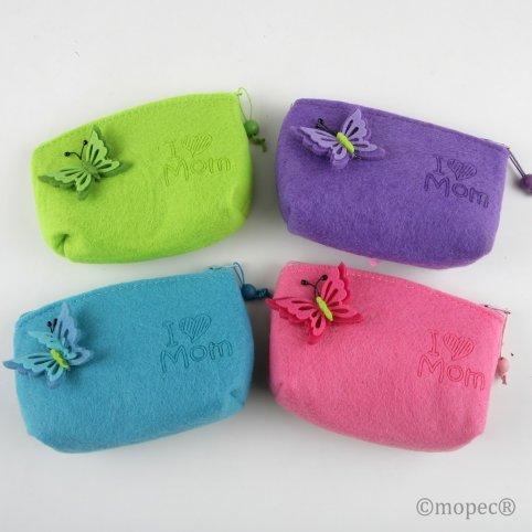 Butterfly Felt Bag 4 colors stdos 13.5x9cm