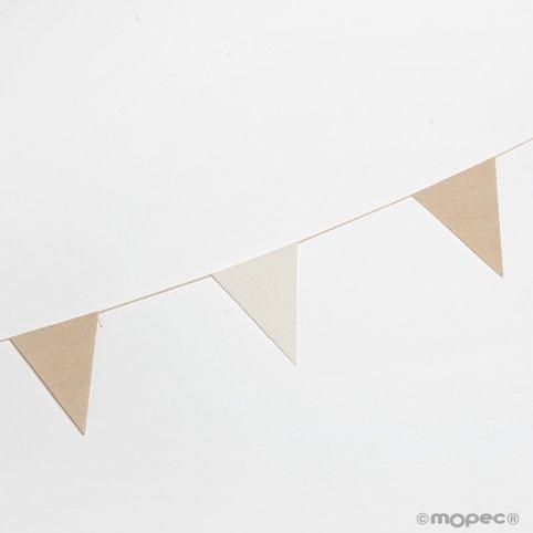 Stoffflagge Girlande 12x16cm. Elfenbein und Beige 180cm.