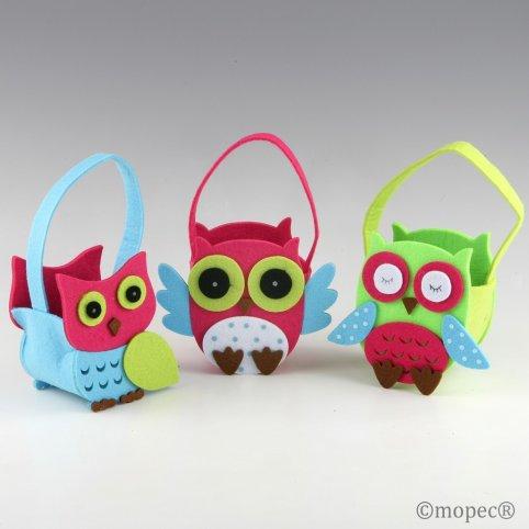 Owl felt basket 25cm